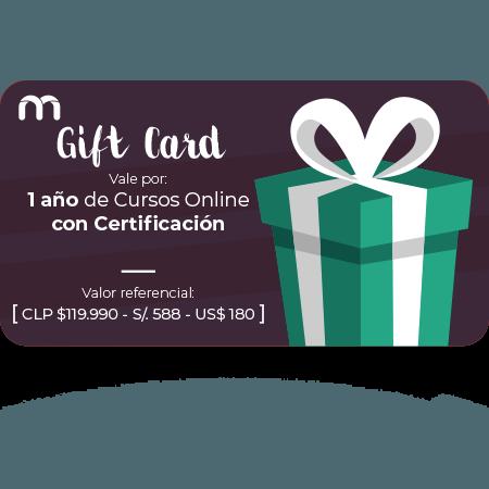 Gift Card 1 Año de Cursos Online con Certificación