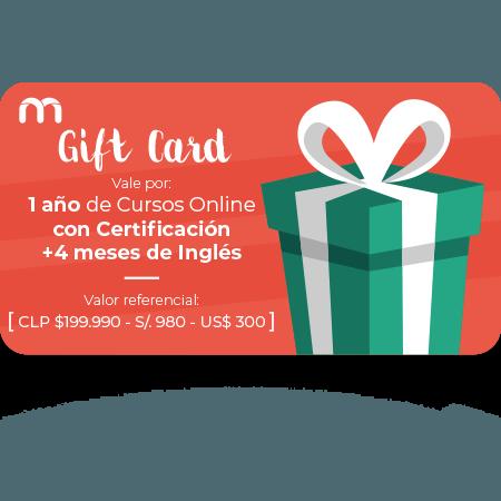 Gift Card 1 Año de Cursos Online con + 4 meses de Inglés